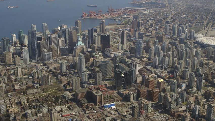 An extended aerial view of downtown Vancouver, British Columbia, Canada.