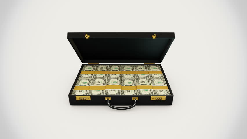 3d animation of briefcase full of dollars.