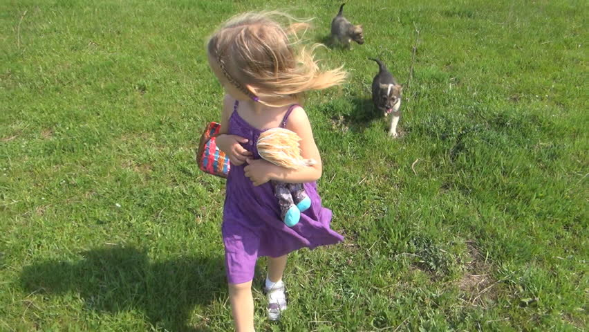 Child Walking, Running and Playing with Dogs, Children Love Puppies, Pets