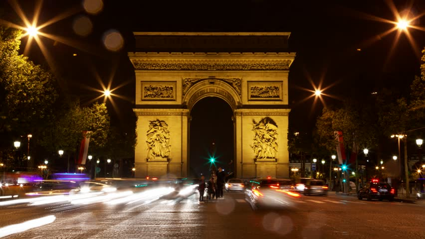 arch of triumph at night paris france traffic time lapse one of the monuments of paris with. Black Bedroom Furniture Sets. Home Design Ideas