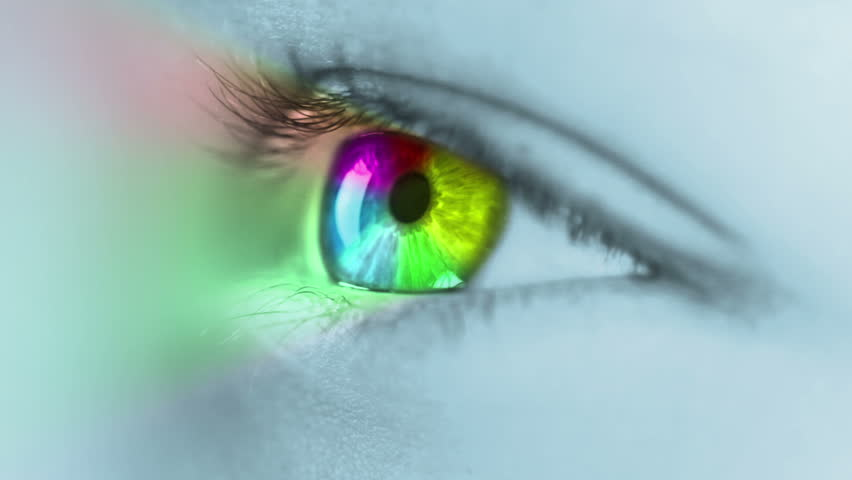 The human eye close-up. On the iris ring is rotated, colored in seven basic