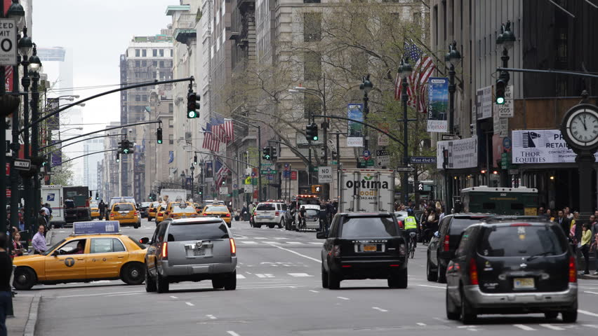 NEW YORK CITY, USA - MARCH 23, 2013 Crowded Street NYC, Traffic Jam in Rush Hour, Midtown Manhattan, New York City