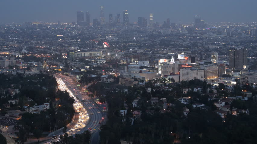 Los Angeles Skyline, Aerial View, Hollywood by night, California, USA, Highway and skyline