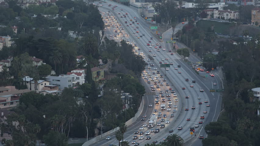 Los Angeles highway, Aerial View, Hollywood by night, California, USA, Highway