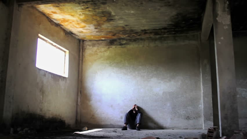Addicted Young Man in Abandoned Building Depression Concept Dolly Shot HD