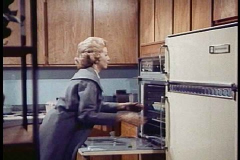 1960s - 1950s housewives start working in the 1960s and appliances make life easier.