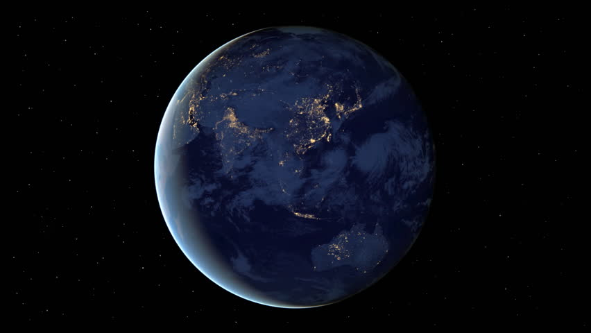 Planet Earth rotation at night with space background.