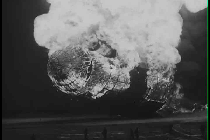 1930s - The Hindenburg zeppelin explodes at Lakehurst, N.J. in 1938
