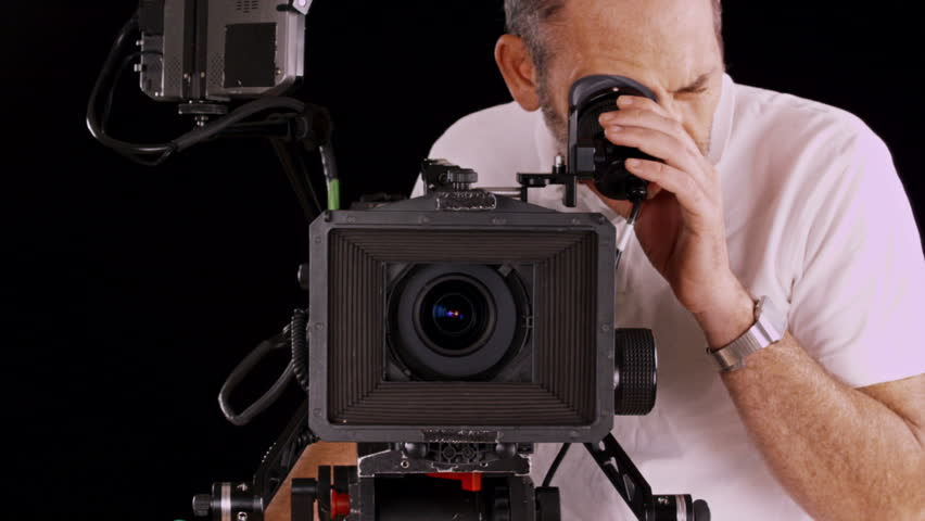 Camera Operator Working With A Cinema Broadcast TV Camera Stock ...