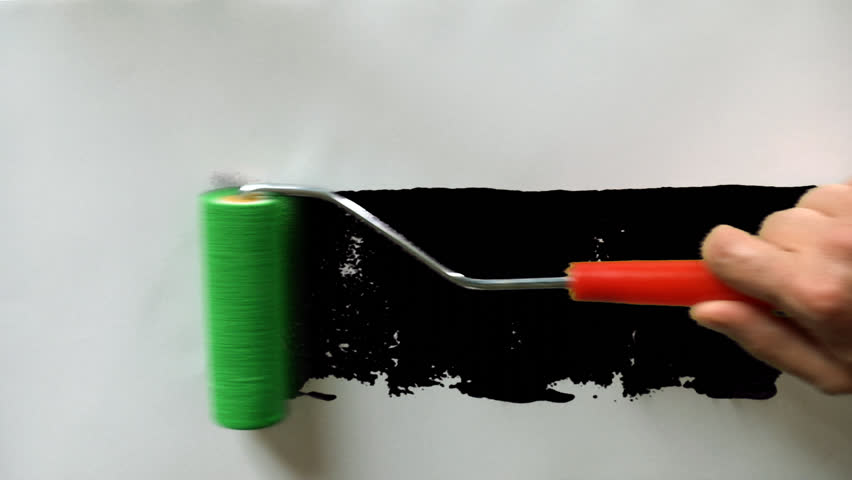 Paint roller painting on white paper with matte