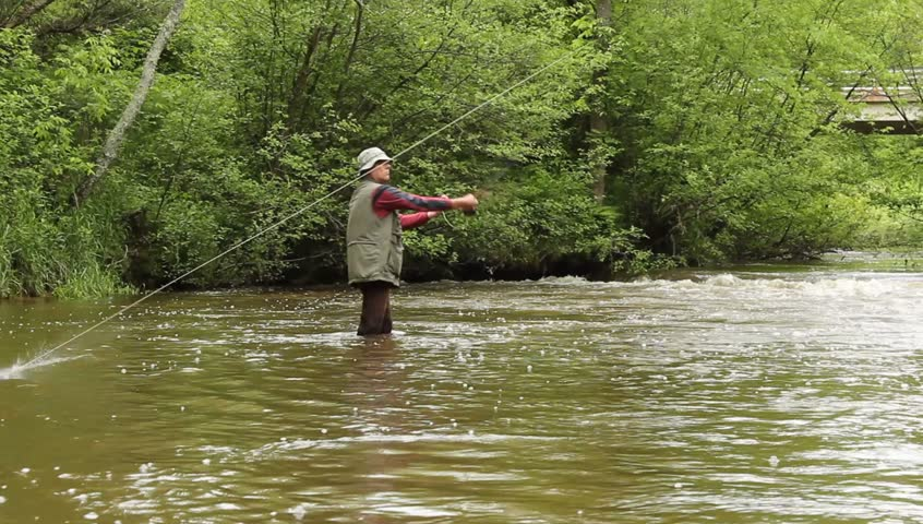 Fly fisherman on a small trout stream | Shutterstock HD Video #4016872