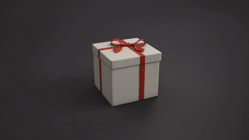 An animated clip with the camera flying into an open gift box