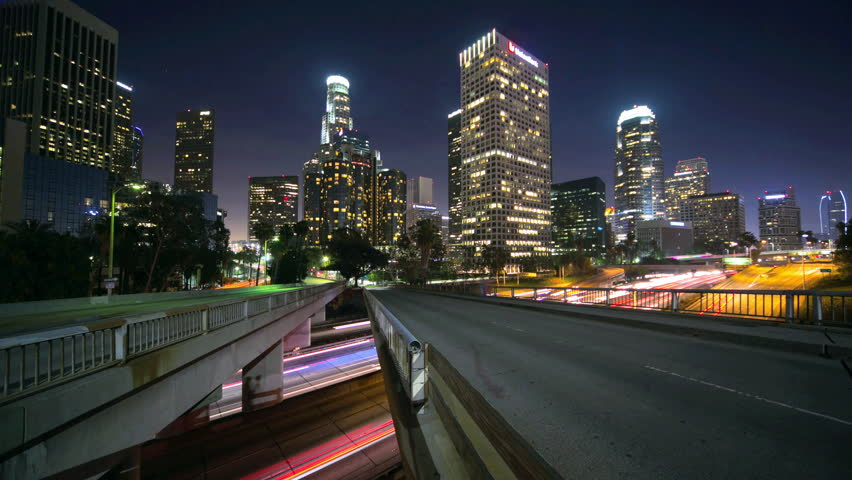 LOS ANGELES city skyline buildings traffic timelapse at night | Shutterstock HD Video #4024474