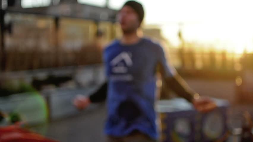 NEW YORK - NOVEMBER 4: athlete training; man jumping rope with jumprope on November 4, 2012 in New York. The NYC Marathon is an annual marathon that courses through the five boroughs of NYC.