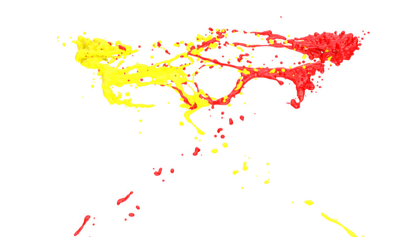 Yellow and red color splashes collide in slow motion, alpha channel included (FULL HD) | Shutterstock HD Video #4066792