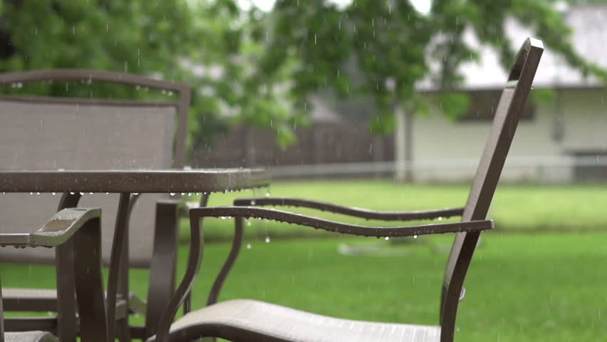 Patio Furniture In Rainfall Slow Stock Footage Video 100 Royalty Free 4072522 Shutterstock