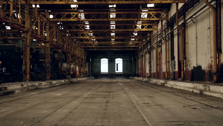 Industrial Interior Of An Old Building   HD Stock Footage Clip