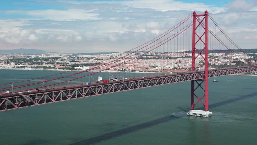 Portugal. Lisbon. 25th of April Bridge. Car traffic. Timelapse