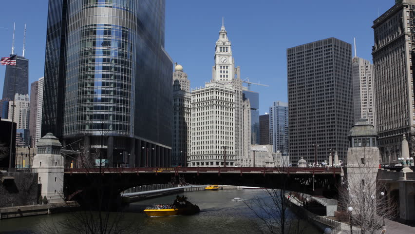 Chicago River, Downtown Skyline, Wabash Avenue Bridge, John Hancock Center | Shutterstock HD Video #4095292
