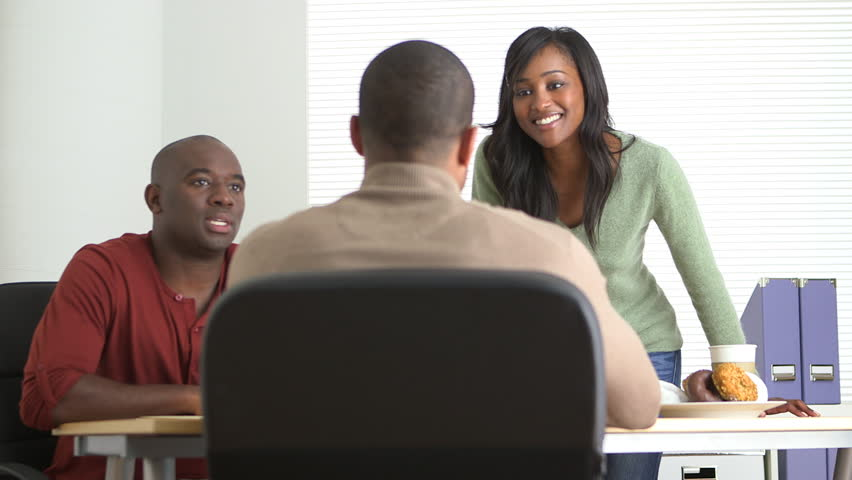 black business people working in office stock footage