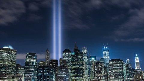 911 Lights in New York City (pulling back)