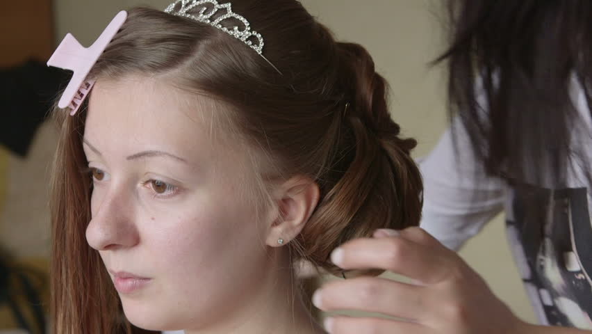 Making Bridal Hairstyle Stock Footage Video 100 Royalty Free