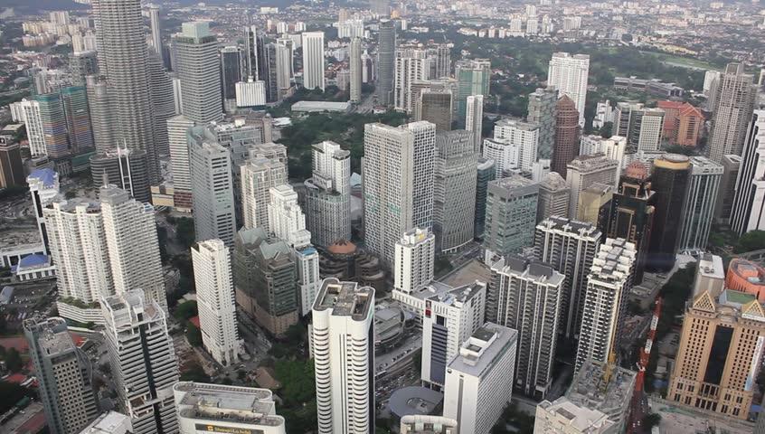 Looking down on Kuala Lumpur city | Shutterstock HD Video #4121494