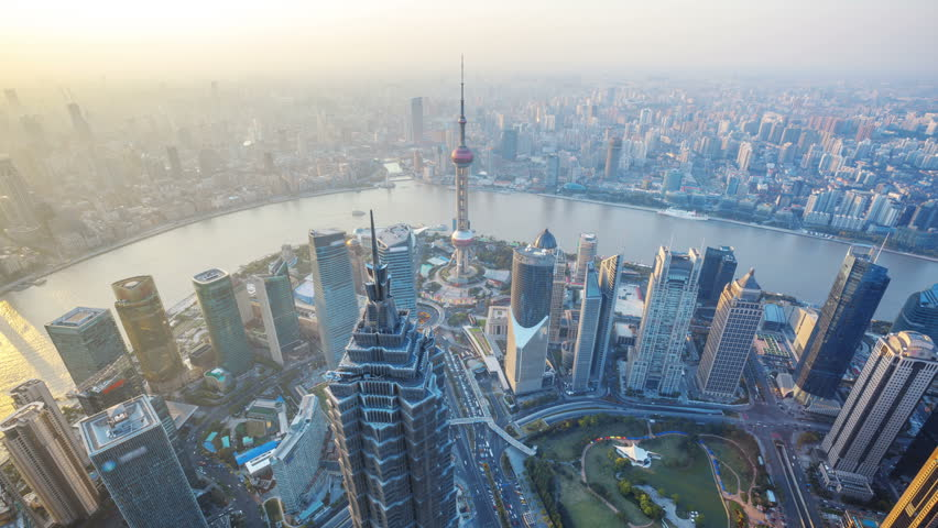 Shanghai from day to night, time lapse.  Aerial view of high-rise buildings with Huangpu River in Shanghai, China. -  >>> Please Search Newest Featured Clip: 29544151. #4128721
