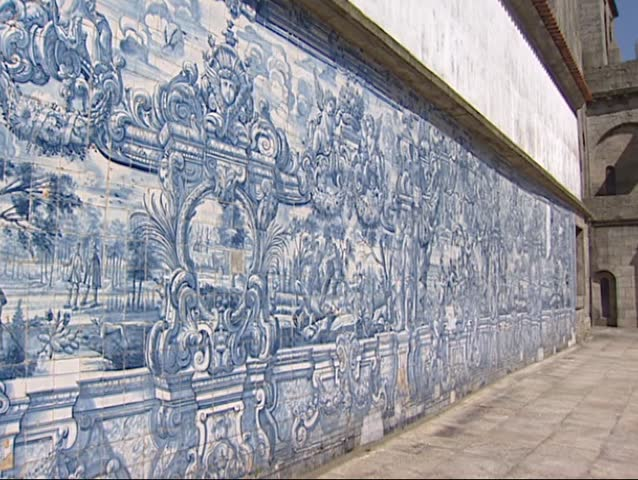 PORTO,PORTUGAL -  Baroque tile panel, azulejos at Porto Cathedral, tilt up walls in the historic centre of Porto, officially designated by UNESCO as World Heritage Site in 1996.
