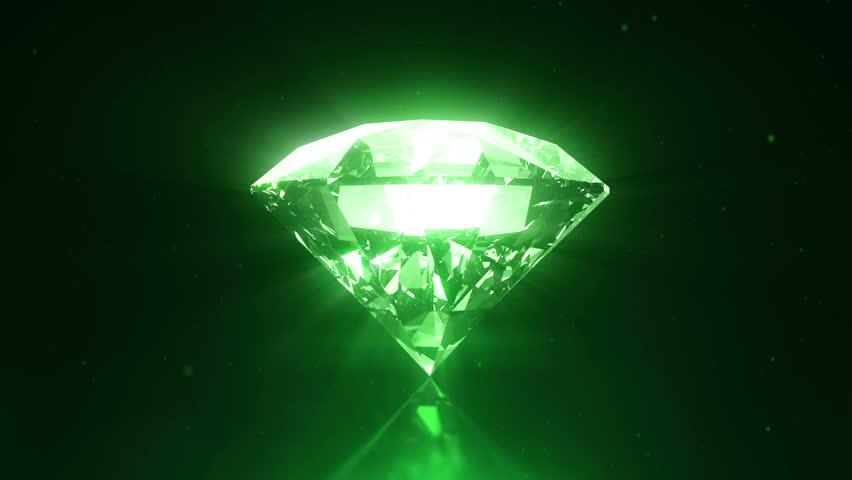 Green Diamond Loopable Spinning Stock Footage Video 100