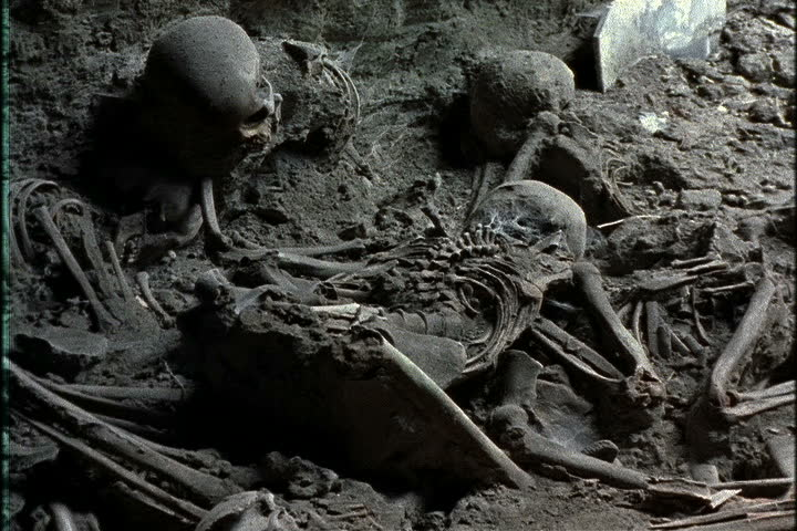 pile of human skeletal remains in ash in naples, italy. stock, Skeleton