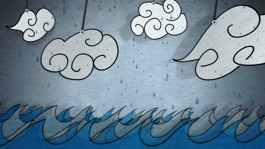 Animated cartoony waves and clouds in rain with a hand-made feel.