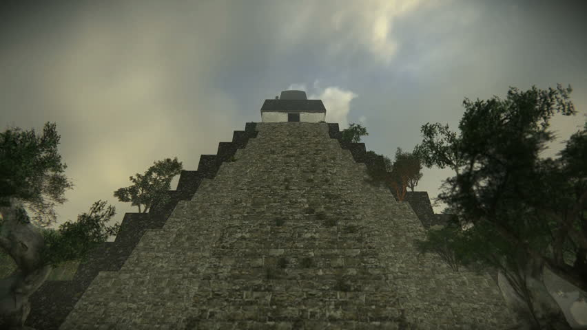 Aerial view of an ancient pyramid in the forest in Tikal - Temple of Jaguar.