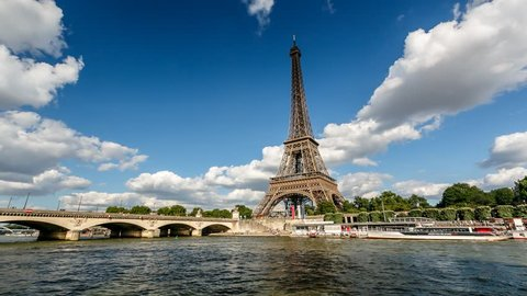 PARIS, FRANCE - JUNE 30: Eiffel Tower Timelapse Video on June 30, 2013 in Paris, France. The tallest structure in Paris and the most-visited paid monument in the world, 320 meters tall, built in 1889.