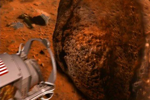 Spirit rover demonstrates its rock abrasion tool (RAT). Animation.