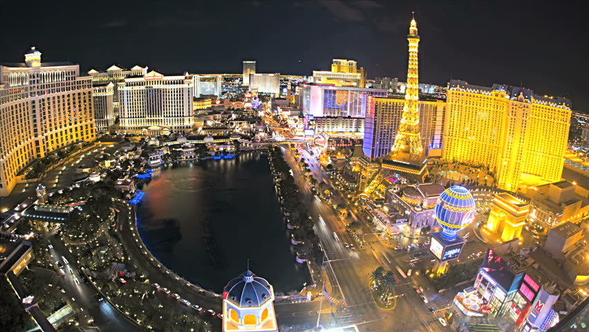 Las Vegas - January 2013: Illuminated view Bellagio Hotel nr Caesars Palace, Las Vegas Strip, USA, Time Lapse