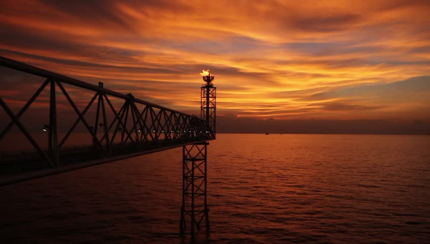rigs tower with fire in the Gulf of thailand