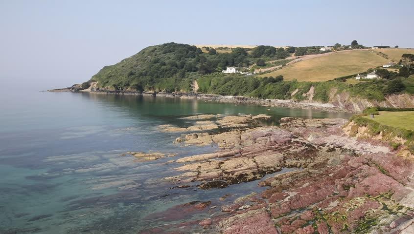 Talland Bay beach between Looe and Polperro Cornwall England UK on a beautiful sunny day