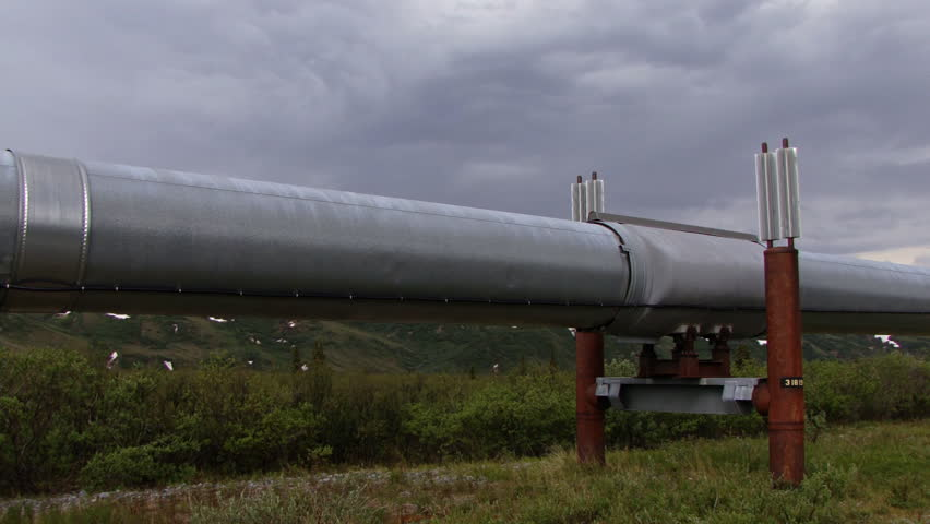 A view along the Alaska petroleum pipeline revealing access road and distant