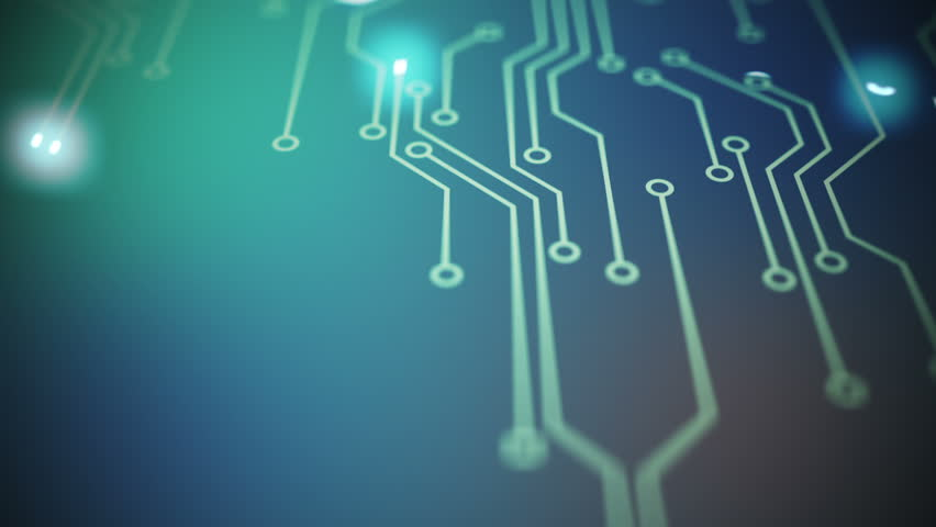 Lines drawn by bright spots eventually create an abstract image of a circuit board on a blue background. It may represent electronic connections, communication, futuristic technology. #4363835