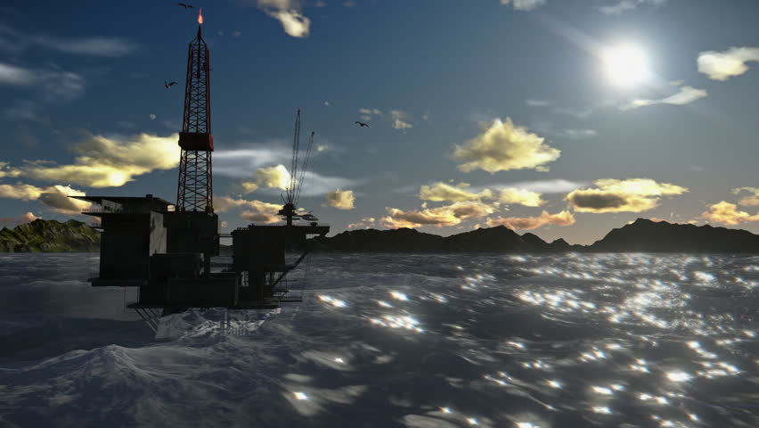 Oil Rig in ocean and seagulls flying, timelapse clouds | Shutterstock HD Video #4374692