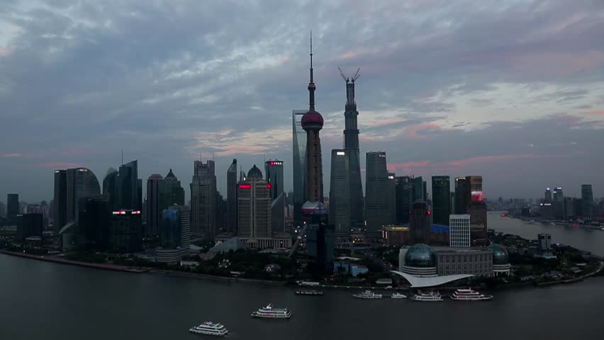 Shanghai composition, at late afternoon and at night
