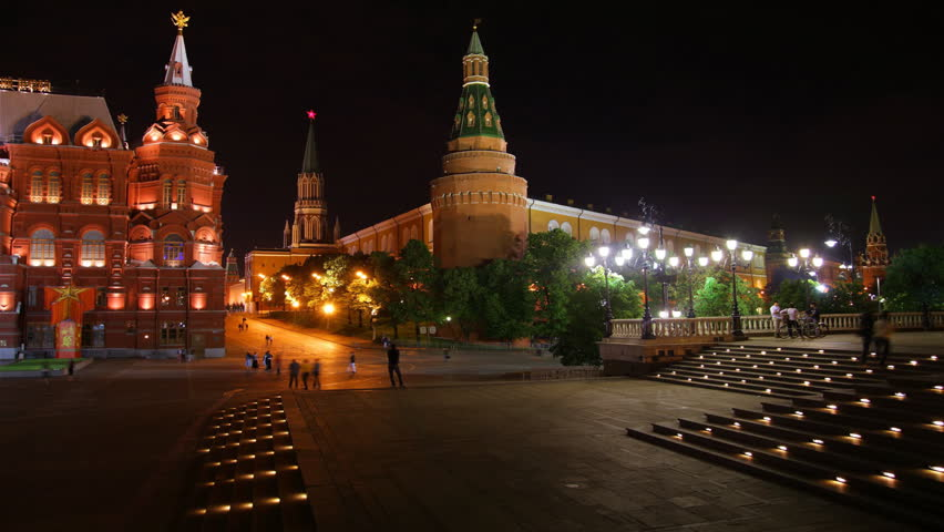 Moscow, Red Square, Kremlin and St. Basil ( Resurrection) Cathedral. Night view, time-lapse.