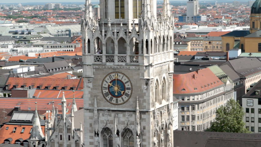 The historical clock of the town hall of Munich, Germany.