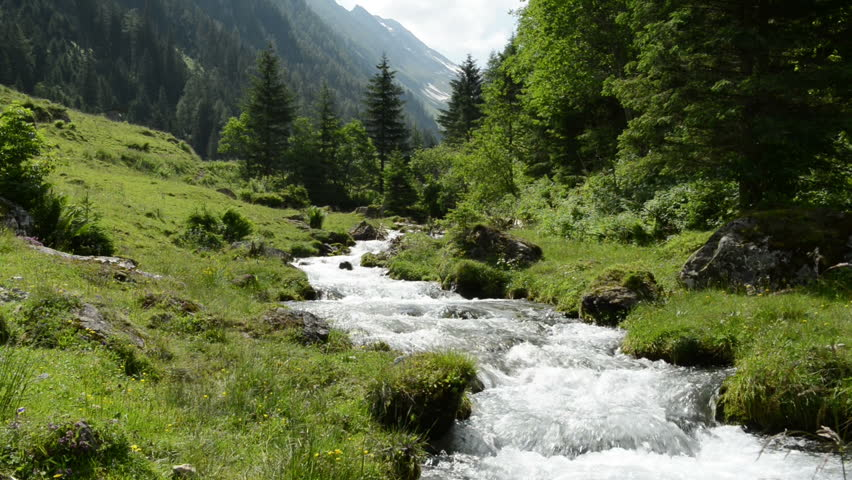 Zillertal Alps stream water zoom though forest and mountains