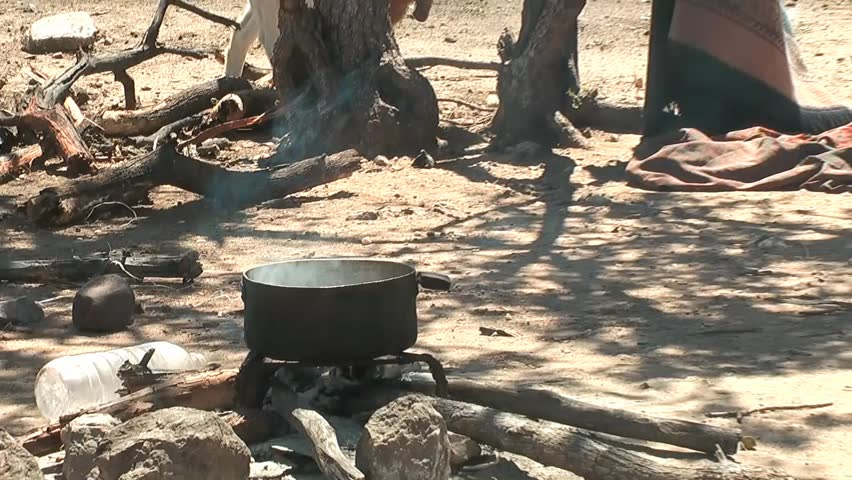 African native tribes - Himba cooking place in Namibia