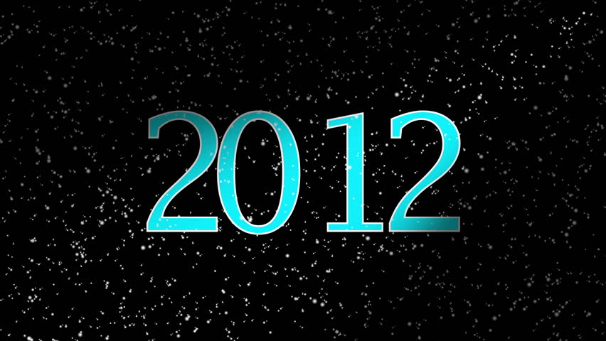 2012 Happy New Year. Blue date 2012 and snow on black background | Shutterstock HD Video #4459532