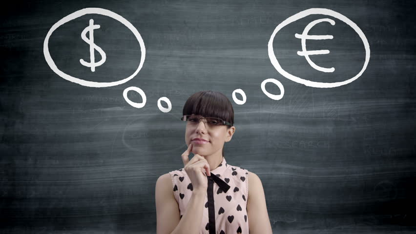 Woman looking up at blackboard with Dollar and Euro signs