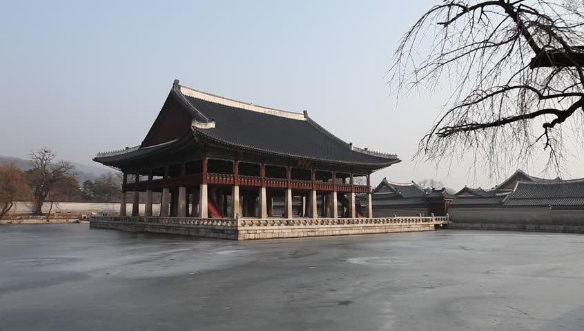 Gyeonghoeru Pavilion Korean Traditional Architecture In The Gyeongbokgung Palace Seoul South Korea Stock Footage Video 4481282