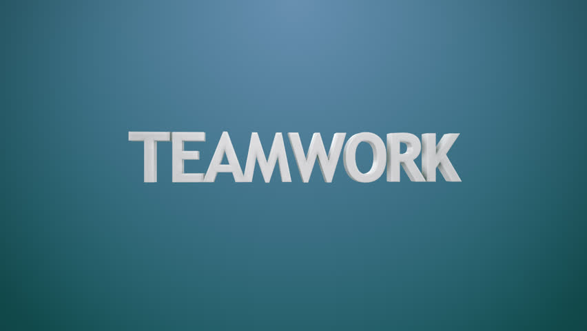 """Animated icon and typography illustrating """"teamwork"""" term. Perfect for any business, corporate or marketing related purposes."""